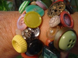 Crocheted vintage button bracelets.
