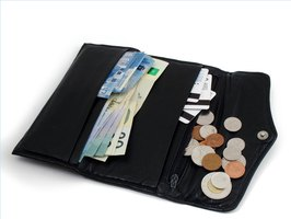Wallet with money, change and credit cards