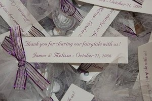 Personalized, home made wedding favor tags.