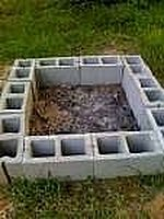 Fire pit made from cinder blocks