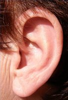 An ear affected by tinnitus