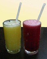 Lime and pomegranate juices