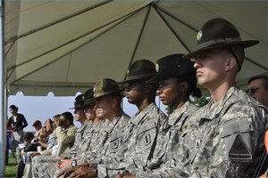 These drill sergeants are wearing Army Combat Uniforms.