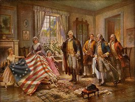"Betsy Ross presenting the ""Betsy Ross Flag"" to George Washington."