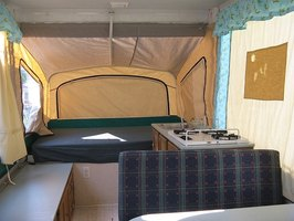 Interior of a pop-up camper