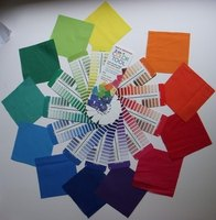 A color wheel of fabric swatches