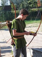 A medieval archery competition in the Netherlands using longbows.