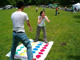 Twister can be played indoors and outdoors.