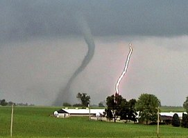 A small F1 tornado on the ground.