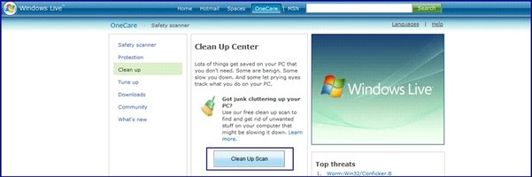 Windows Live OneCare Clean Up scanner download screen