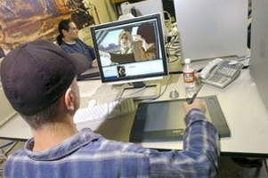 Lead animators create animation using computers.