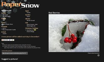 Java applet animation of snow falling over a background image