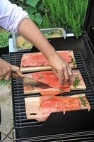 Herb salmon on the grill