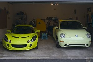 The Lotus on the left is supercharged, while the VW has a turbo