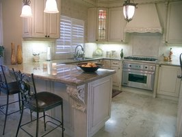 Granite counters are used frequently in kitchen designs.