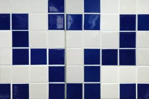 Tile wall with white grout