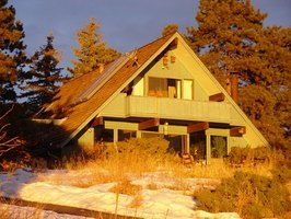 A-frame houses must be very efficient because there is less square footage.