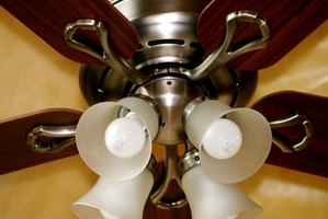 Ceiling fan with a light kit installed.