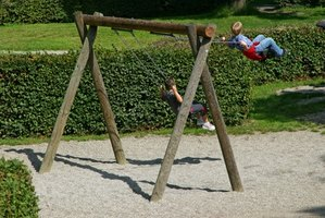 How to design a wooden swing set ehow for How to make a simple wooden swing set