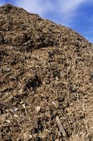Shredded hardwood mulch is made from the bark of hardwood trees.