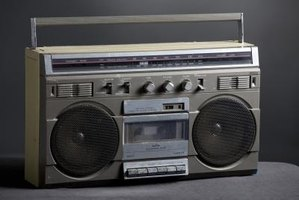 A worn-out boom box makes the perfect 80s costume prop.