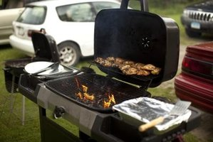 Clean your gas grill with mild, non-flammable cleaning products.