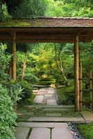 A Japanese pergola adds beauty to a garden or pool area.