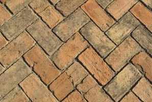 A herringbone tile pattern is created with rectangular tiles.