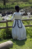 Nineteenth century women wore floor-length skirts and dresses.