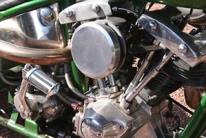 Harley carburetor on a shovelhead engine.