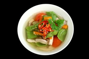 Soup lwith meat and veggies is a good low-carb dish.