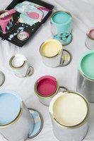 Paint upholstery foam with bright, vibrant colors.
