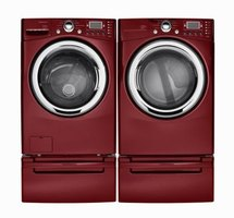 Most front-loading washing machines are sold with an optional pedestal that match in both color and design.