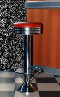 Floor mounted bar stools are anchored into concrete floors.