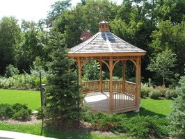 You can build a basic gazebo, like this one, from scratch or with a prefabricated kit.