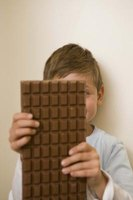 Large blocks of chocolate can be broken into smaller pieces to melt.