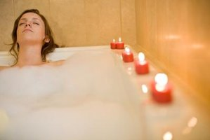 Toss bath beads in the tub to enhance the spa feel.