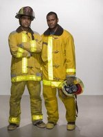 The clothing worn by firefighters is made of heat resistant materials.
