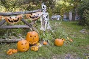 Add a ghoulish touch to a Halloween party with handmade skeleton bones.