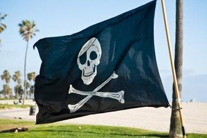 A skull and crossbones form the traditional design for a Jolly Roger.