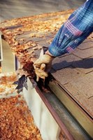 Gutters are most commonly clogged with leaves from nearby trees.