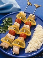 Chicken kabobs make a quick, healthful meal.