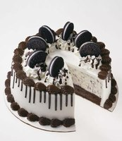 An ice cream cake is a delicious combination of cake and ice cream.