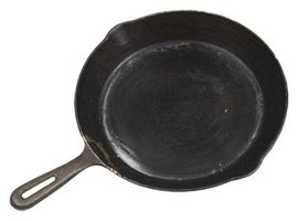 A seasoned cast iron pan eventually develops a nice, dark patina and nonstick surface.