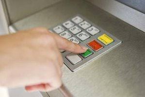 The keypad on an ATM allows users to input information.