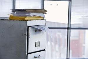 A filing cabinet is typical equipment used for storing paper documents.