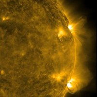 The sun emits gamma-rays during intense solar flares.