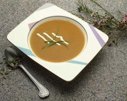 Pumpkin soup is warming on a frosty autumn evening.