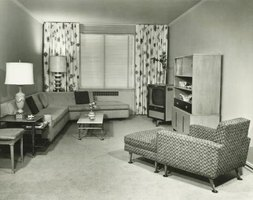 Living rooms of the 1950s saw the introduction of the television.