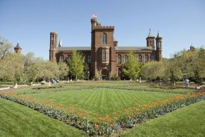 The Smithsonian Castle is surrounded by Victorian-style geometric flower beds.